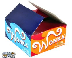 Wonka candy bar box from Charlie and the Chocolate Factory