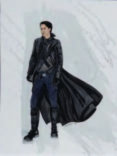 Trio of production costume sketches for The Matrix