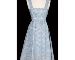 """Judy Garland screen-used """"Dorothy Gale"""" blue and white gingham pinafore dress from The Wizard of OZ."""