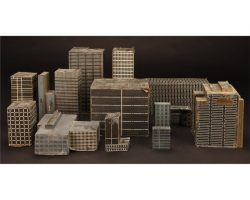 "Set of 13 miniature buildings from ""Snake Plissken's"" flying sequence in Escape from New York"
