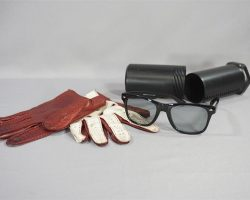 BABY DRIVER BABY ANSEL ELGORT SCREEN USED DRIVING GLOVES & SUNGLASSES