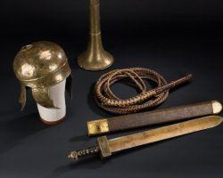 Original Ben-Hur helmet, trumpet, sword and whip
