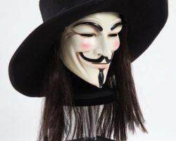 Background V mask, hat & wig from V for Vendetta