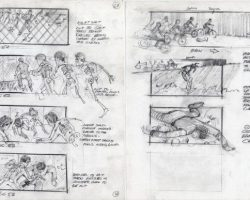 Original Richard Lasley storyboard art – The Karate Kid