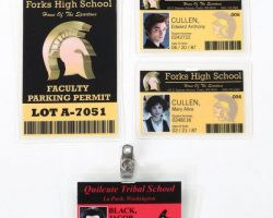 Twilight school ID badges for Edward, Jacob, & Alice