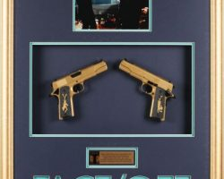 Nicholas Cage pair of gold stunt pistols from Face/Off