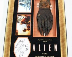 Original Alien Hand and Giger Autograph Display