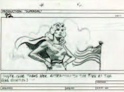 Archive of storyboards from final scenes of Supergirl
