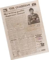 Three prop newspapers from the Superman films