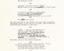 Orig Star Wars script page w/ George Lucas alterations