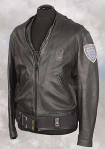 Police jacket and Demeter City PD patch Space Precinct