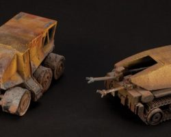 Two miniature movie prop Colony vehicles from Aliens