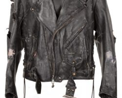 """Arnold Schwarzenegger """"The Terminator"""" leather jacket and leather glove from The Terminator"""