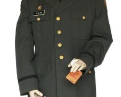 "This military uniform was worn by the character ""Lt. Colonel Nathaniel Serling"" portrayed by the Academy Award winning actor Denzel Washington in the motion picture ""Courage Under Fire"". This Class A Military uniform is military issue and consists of a co"