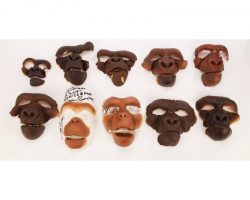 Assortment of 10 production-made Ape facial appliances from Planet of the Apes