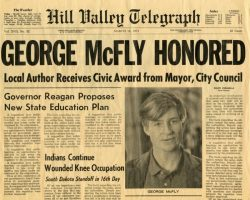 """Pair of Hill Valley Telegraph """"George McFly"""" newspapers from Back to the Future II"""