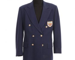 "Tom Hanks ""Forrest Gump"" navy sport jacket with table tennis patch from Forrest Gump"