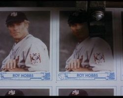 """The Natural Baseball Card With Robert Redford """"Roy Hobbs"""" And Clipped Redford Autograph"""
