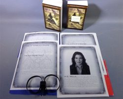 Warehouse 13 Hg Wells Jaime Murray Screen Used Files Textbooks and Handcuffs Set