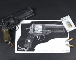 Hellboy's (Ron Perlman) Good Samaritan Pistol, Bullets & Design Prints HELLBOY